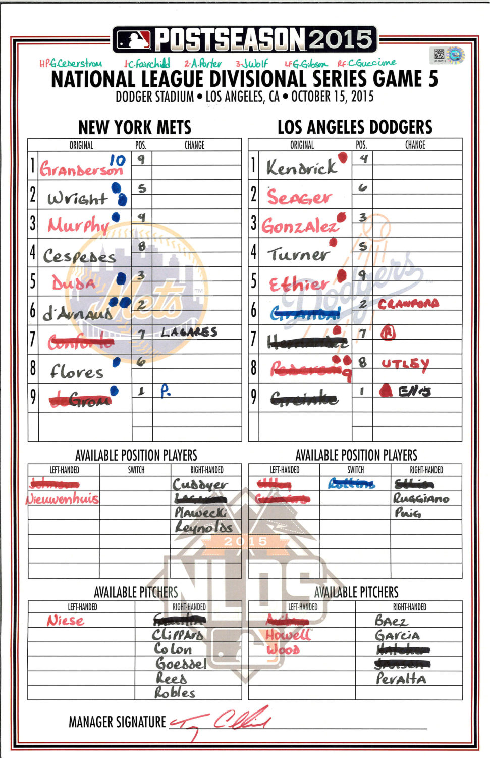 Lineup Card: Game 5 of the 2015 NLDS