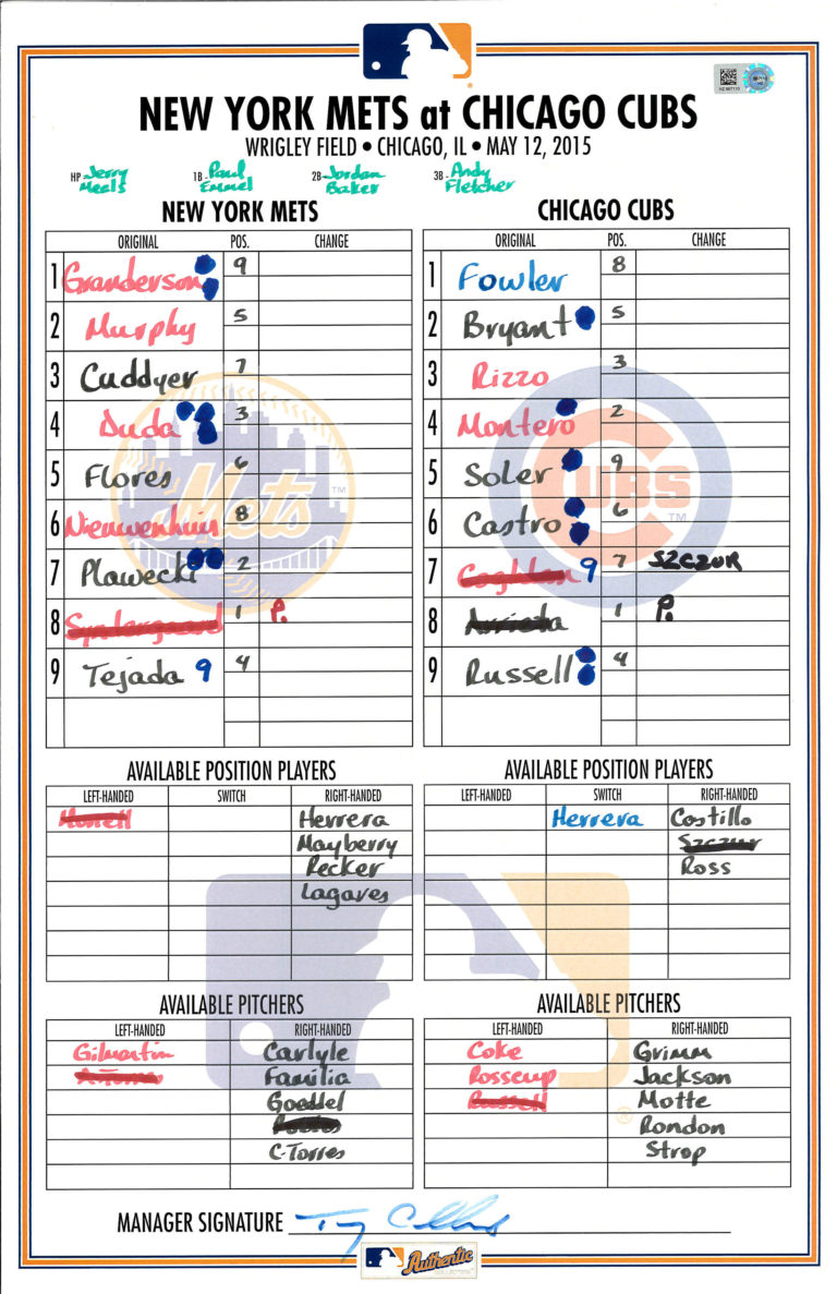 Lineup Card: Syndergaard's MLB Debut vs. Chicago Cubs