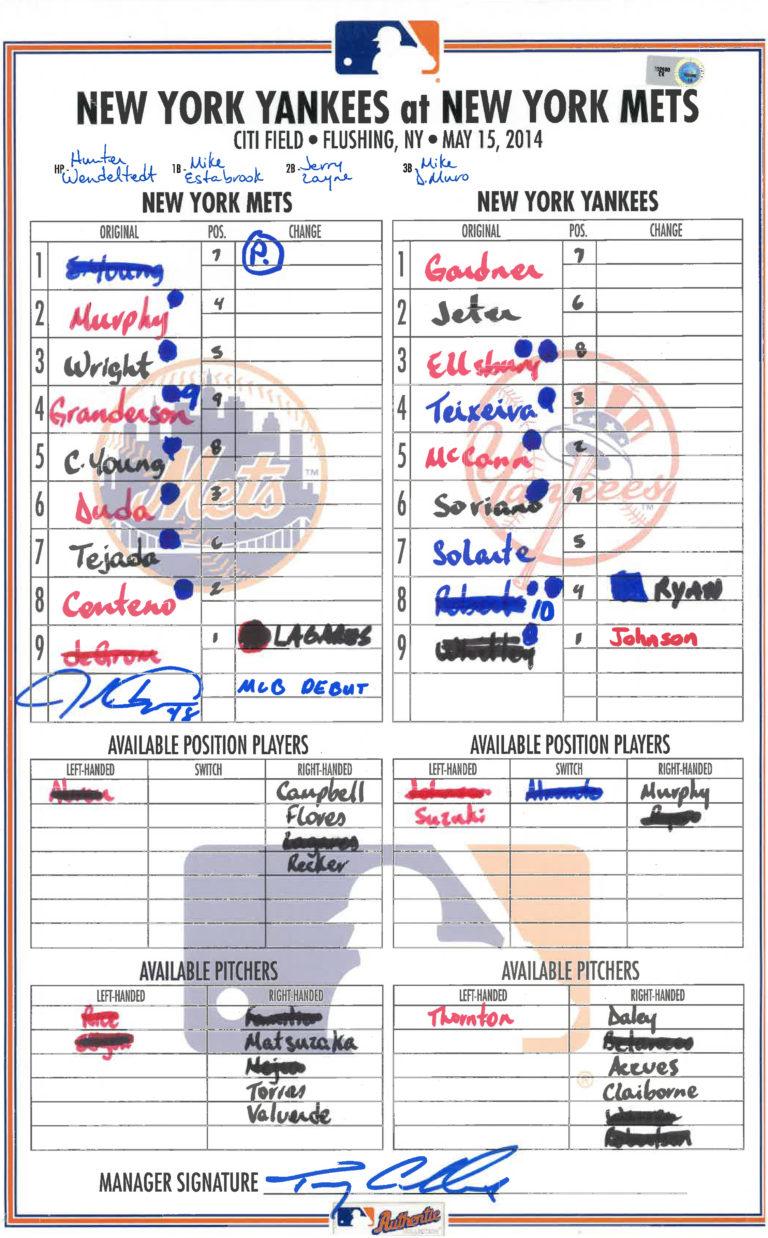 Lineup Card: Jacob deGrom's MLB Debut
