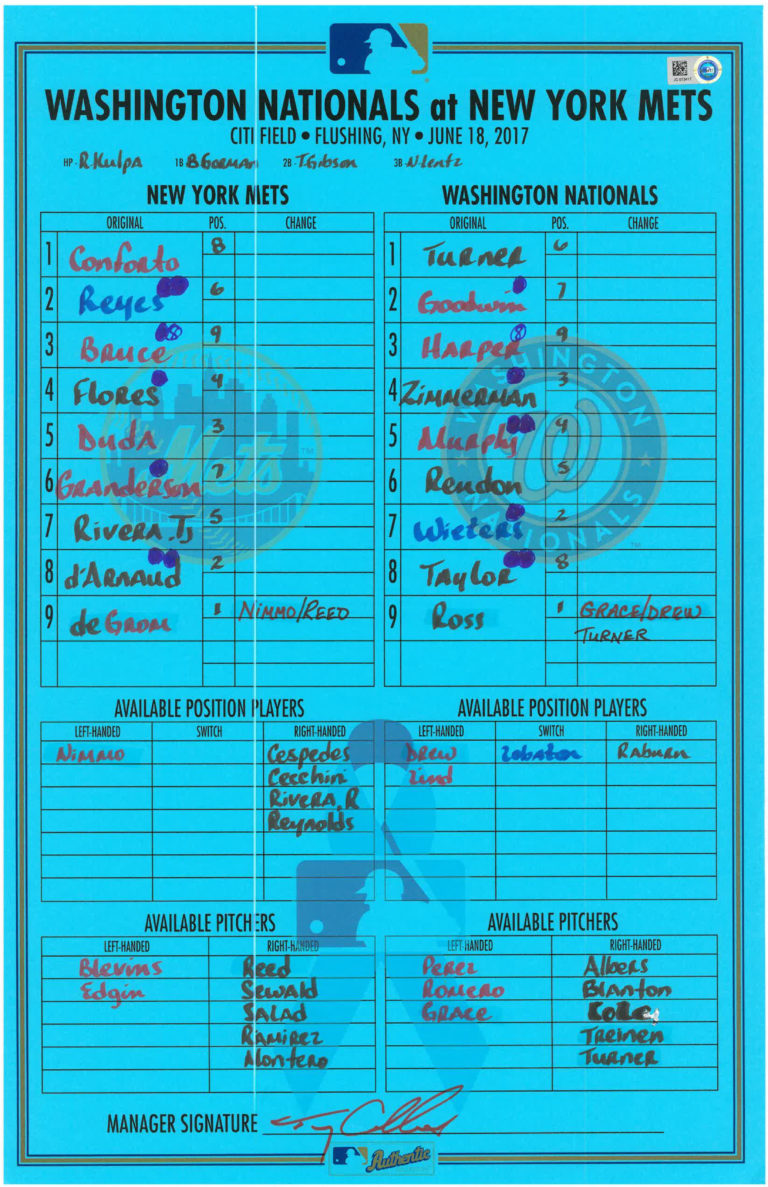 Lineup Card: Jacob deGrom's First Home Run