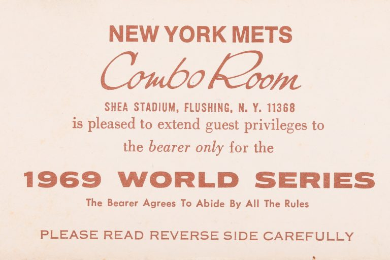 New York Mets Combo Room Ticket for 1969 World Series