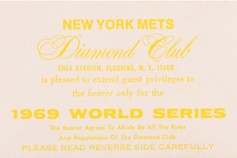 1969 World Series Game 3 Diamond Club Ticket