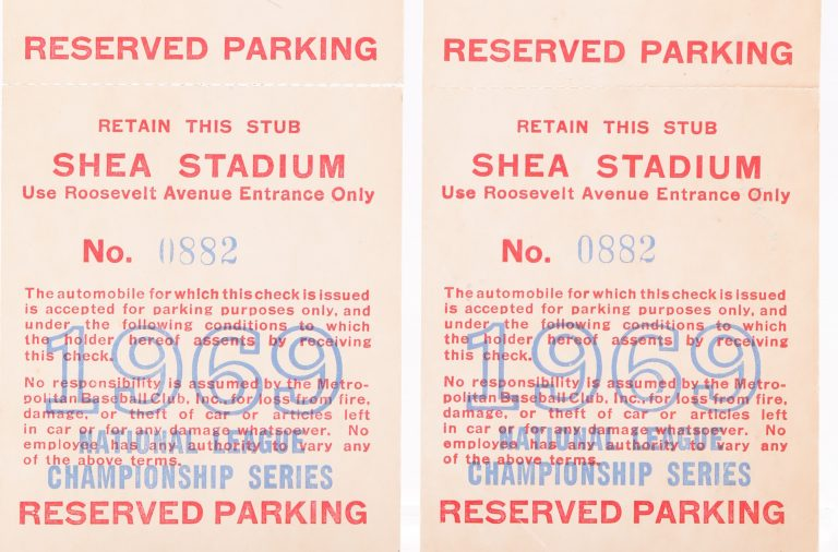 1969 NLCS Reserved Parking Passes