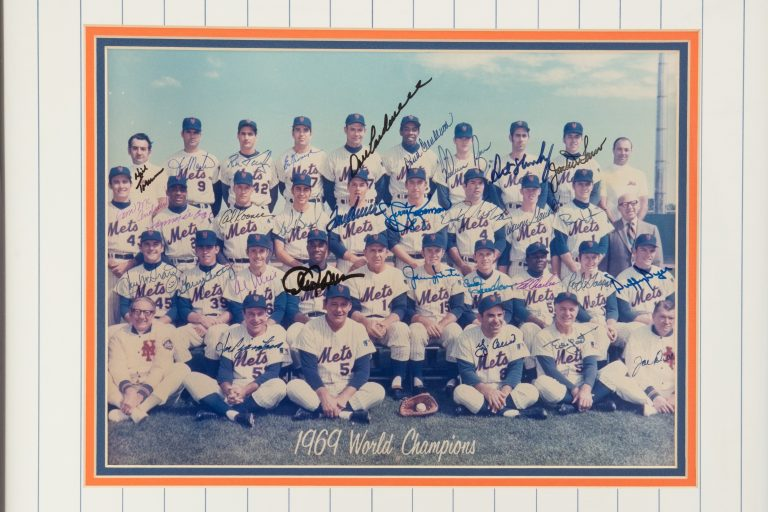 Autographed Frame Photo of 1969 Mets Team