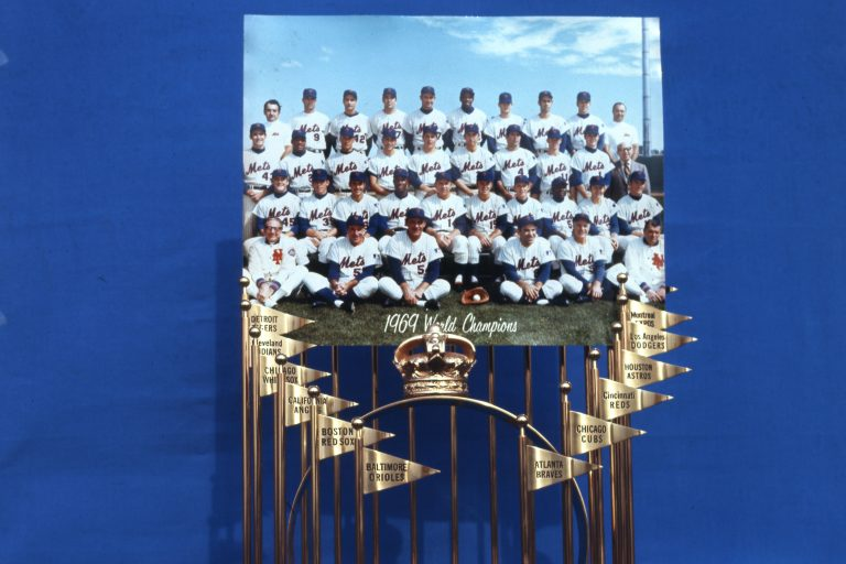 1969 Mets Team Photo and Commissioner's Trophy