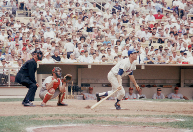 Ed Kranepool Prepares to Run After Hitting a Pitch