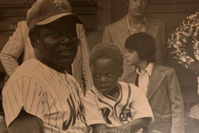 Ed Charles and Son at Shea Stadium