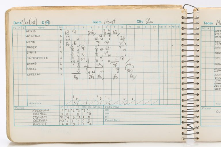 Scorecard from First Game of Houston Astros-Mets Doubleheader in 1967