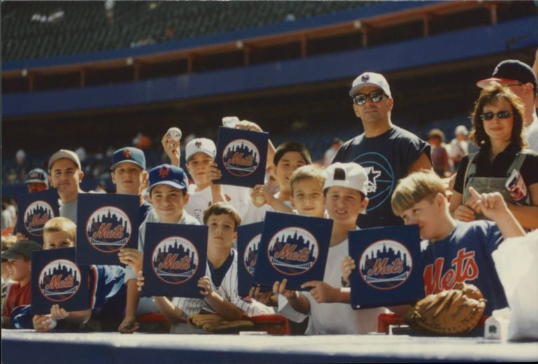 Young Mets Fans Wait for Autographs at Shea