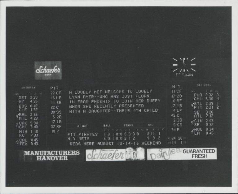 Scoreboard Message to Duffy and Lynn Dyer