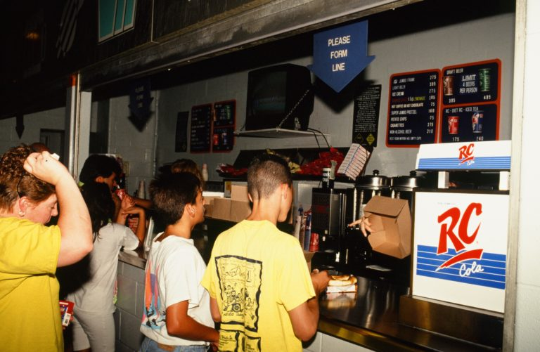 Fans Line Up for Concessions at Shea Stadium