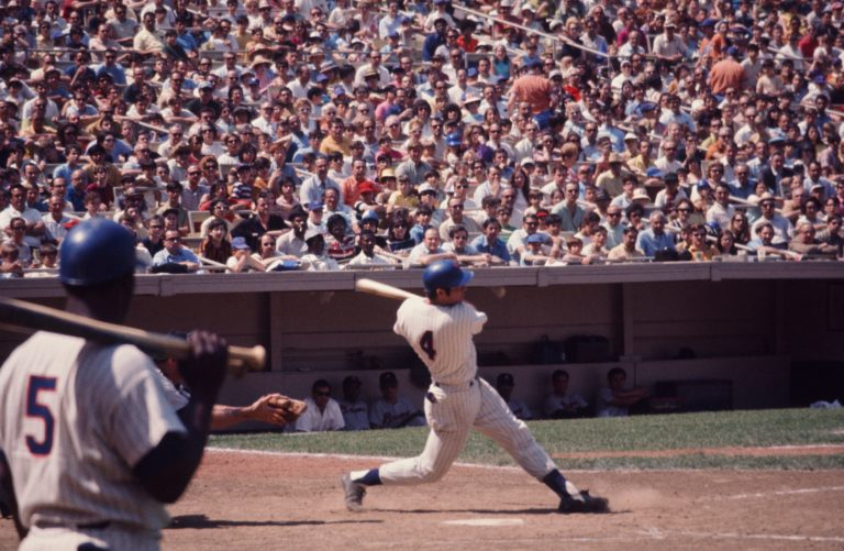 Ron Swoboda Swings Bat In Front of Packed Stadium