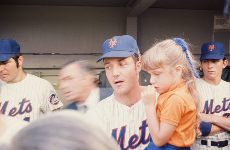 Al Weis and Daughter in Mets Dugout