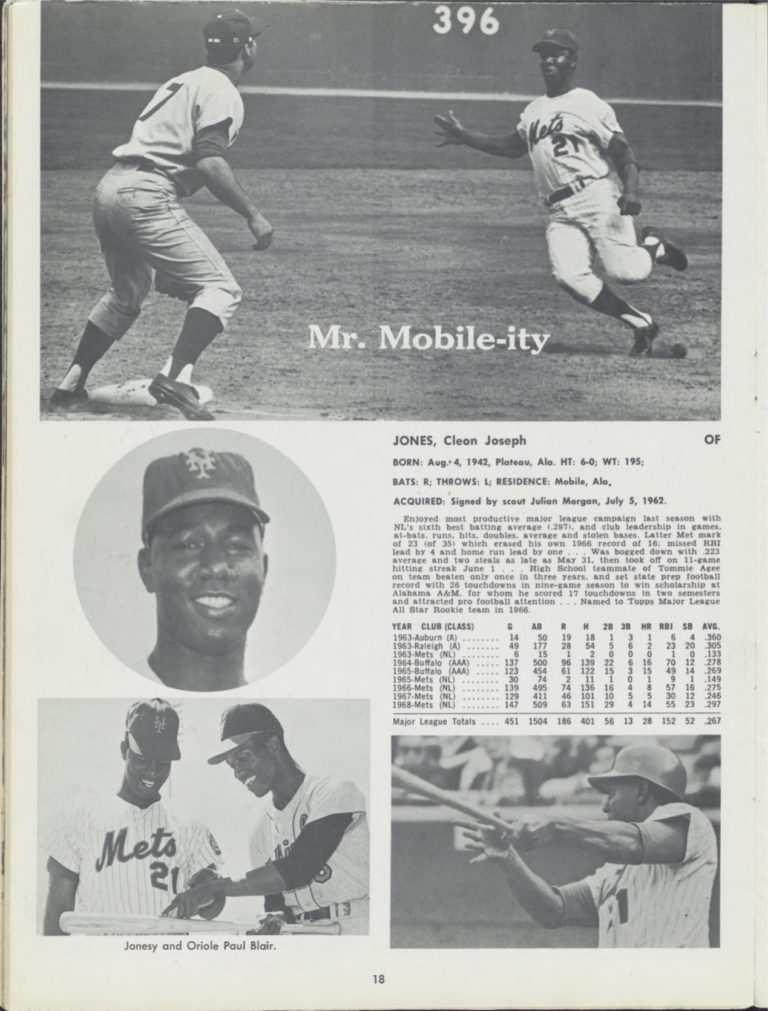 Cleon Jones's Stat Page from 1969 Mets Yearbook
