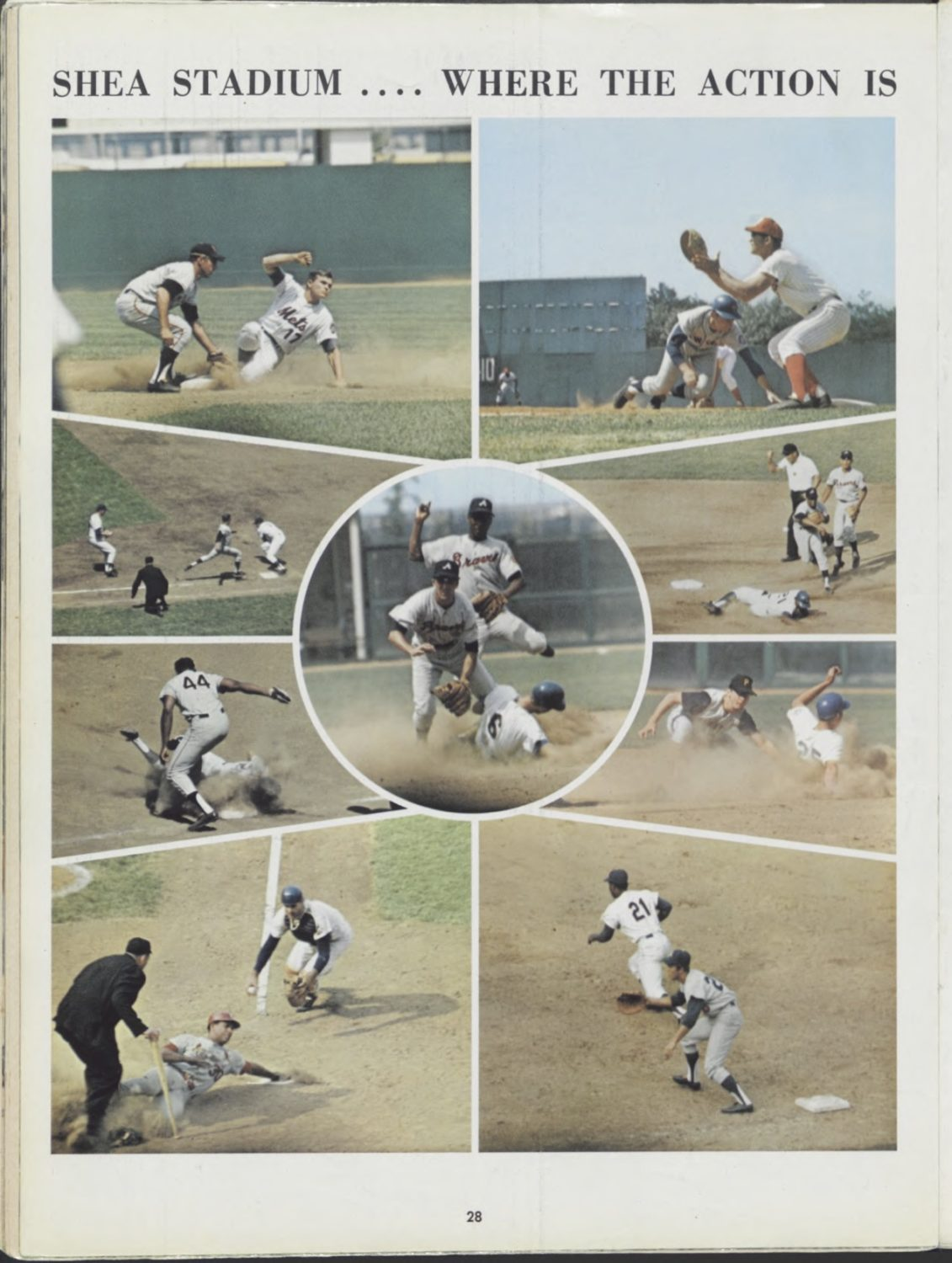 1969 Mets Yearbook Page of Action at Shea