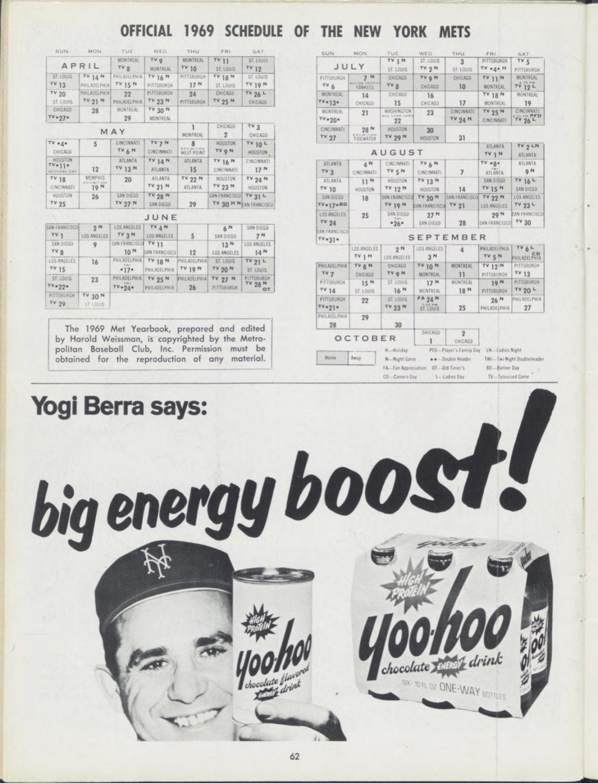 1969 New York Mets Yearbook Featuring Yogi Berra