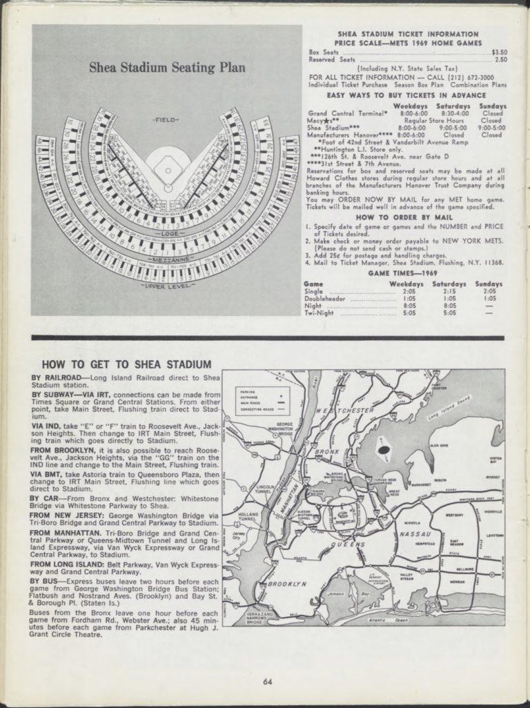 1969 New York Mets Yearbook: Seating Plan