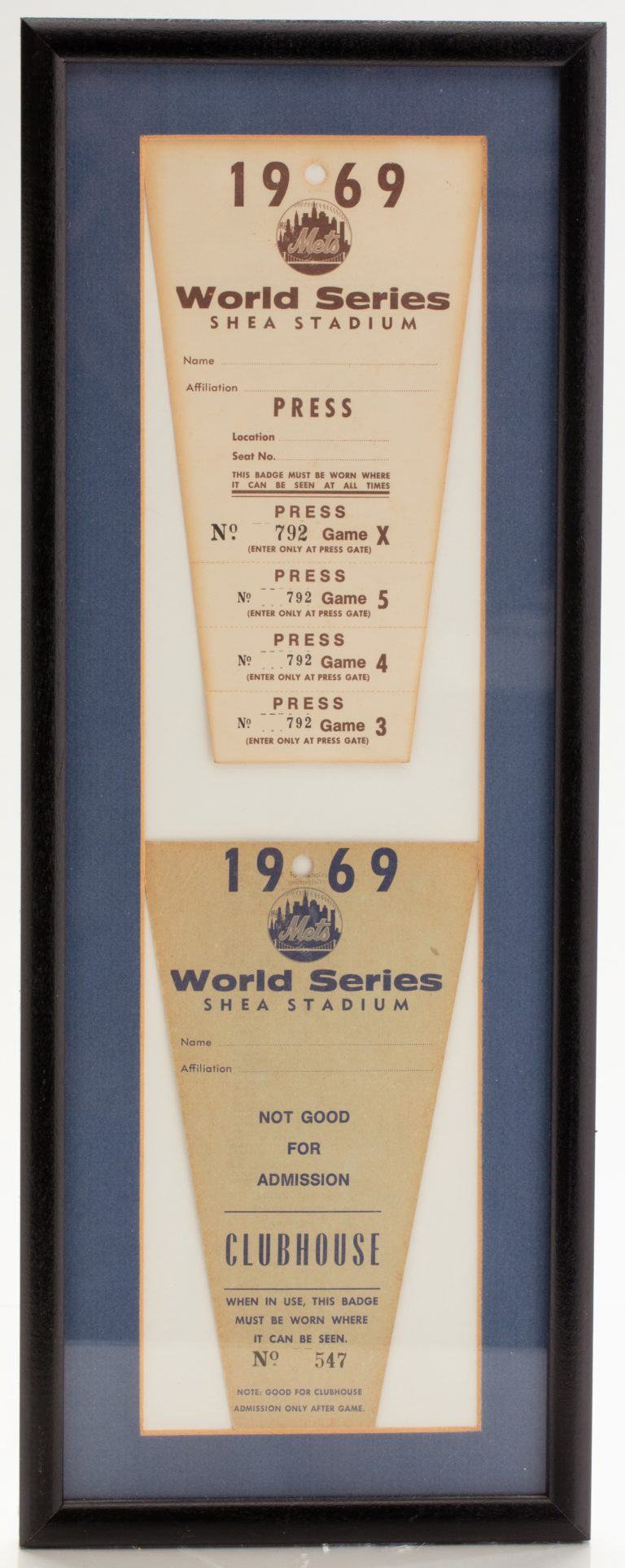 1969 World Series Press Pass