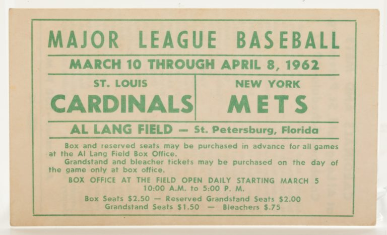 1962 Spring Training Schedule at Al Lang Field