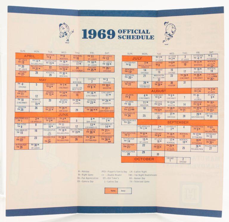 1969 Official New York Mets Pocket Schedule