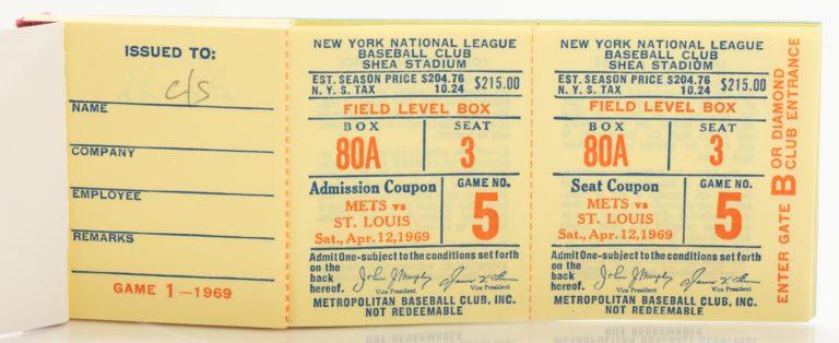New York Mets 1969 Ticket Book