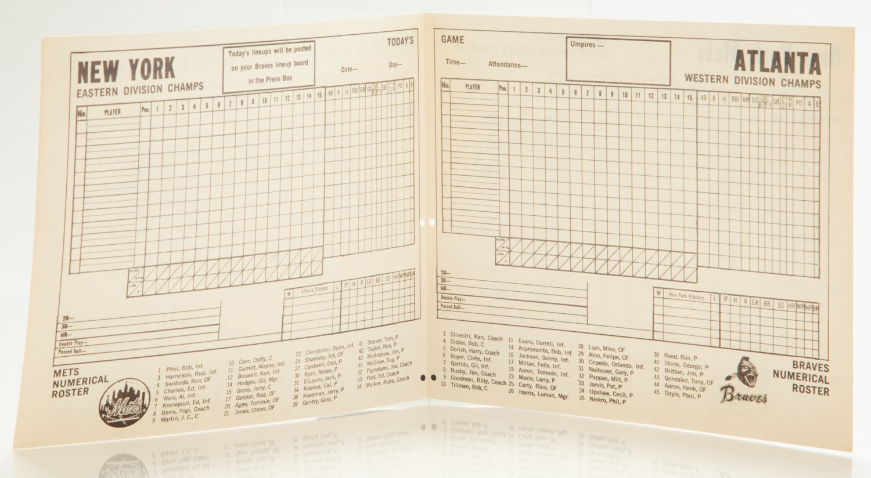 Mets-Braves Scorecard from 1969 NLCS - Scorecard Side