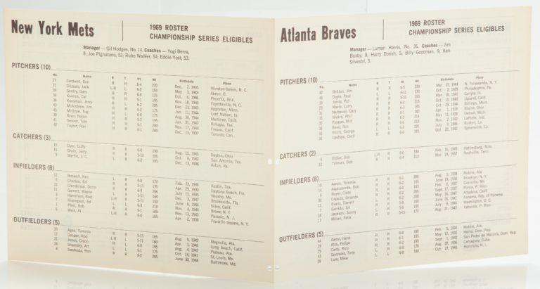 Mets-Braves Scorecard from 1969 NLCS - Roster Side