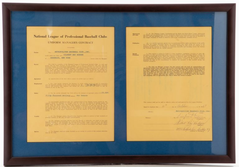 Gil Hodges Manager's Contract
