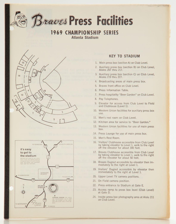 1969 NLCS Atlanta Stadium Press Facilities