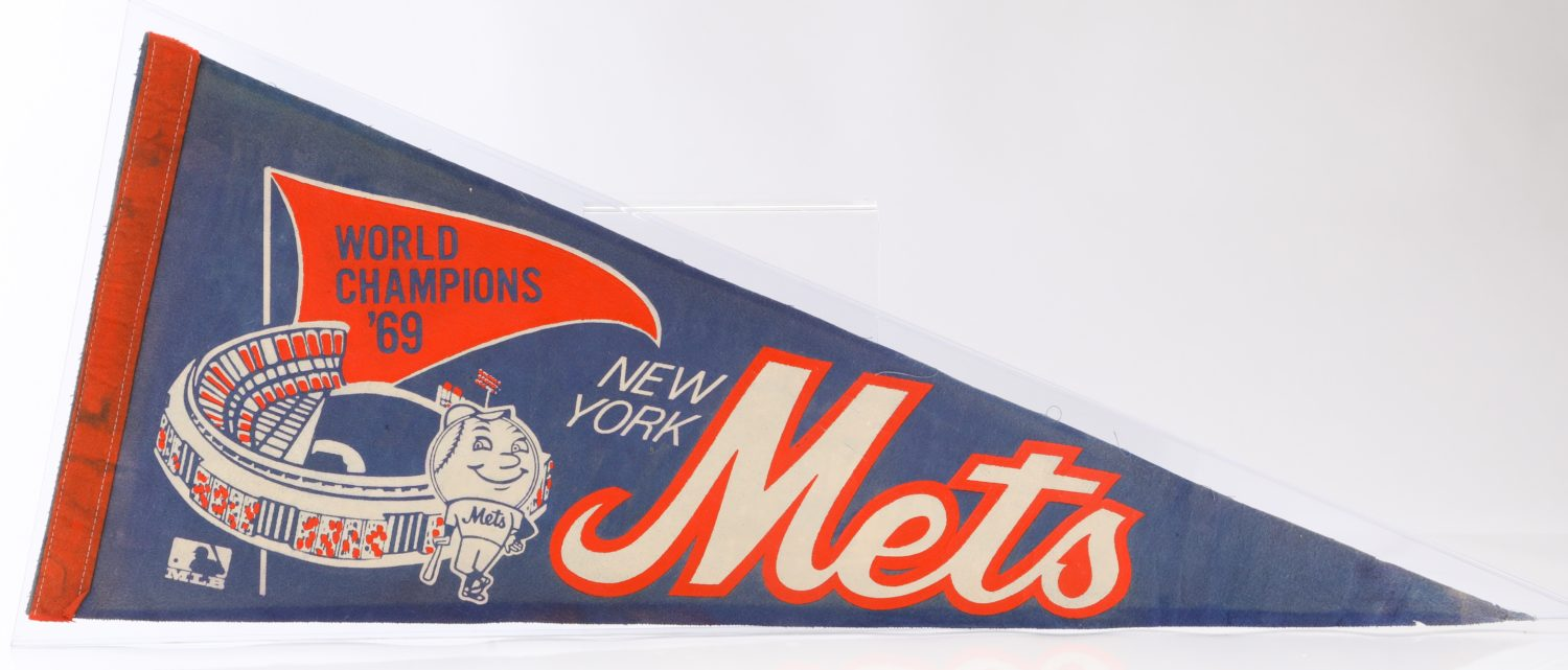 1969 World Series Pennant with Mr. Met and Shea