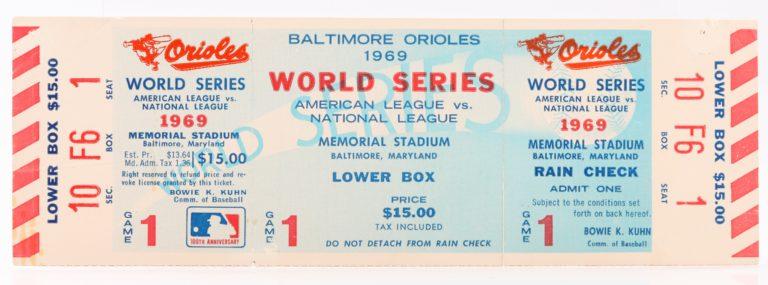 1969 World Series Game 1 Ticket