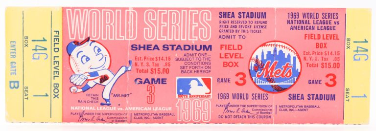 Ticket to Game 3 of the 1969 World Series