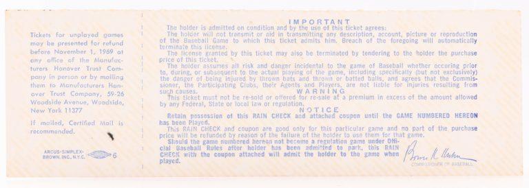 1969 World Series Game 5 Field Box Ticket