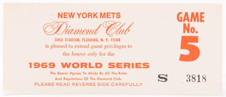1969 World Series Game 5 Diamond Club Pass