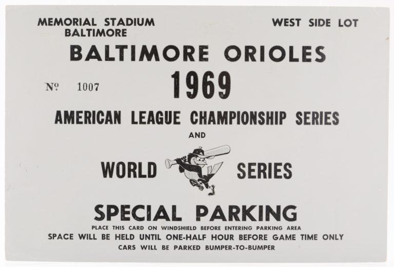 1969 World Series Parking Pass for Memorial Stadium