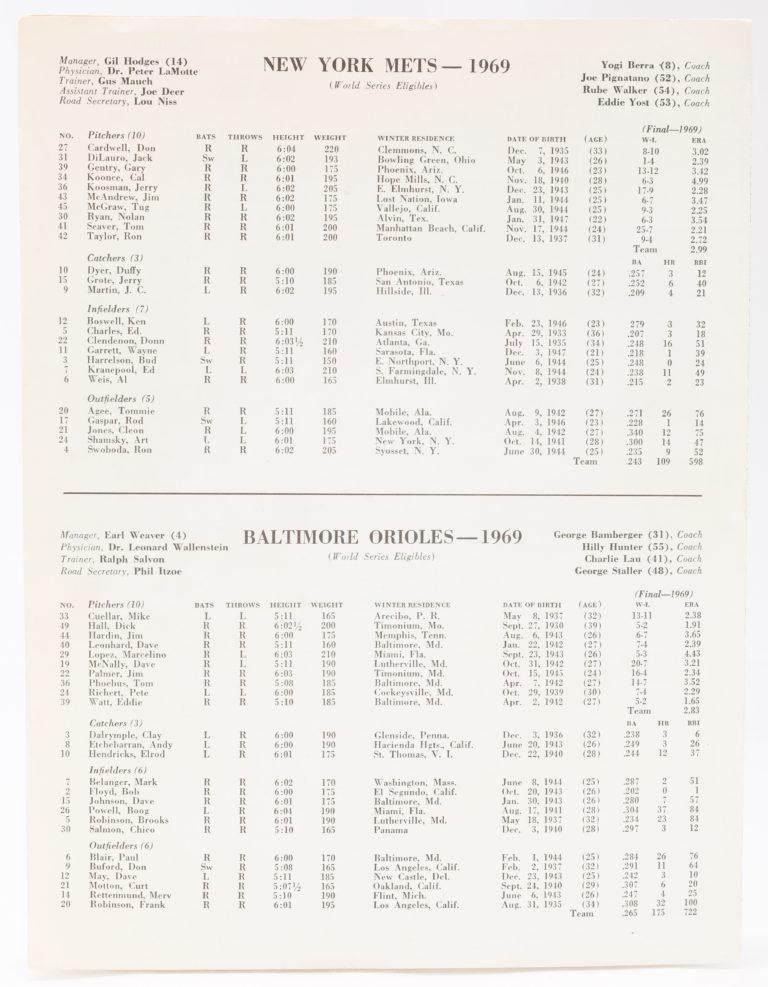 1969 World Series Press-Radio-TV Program