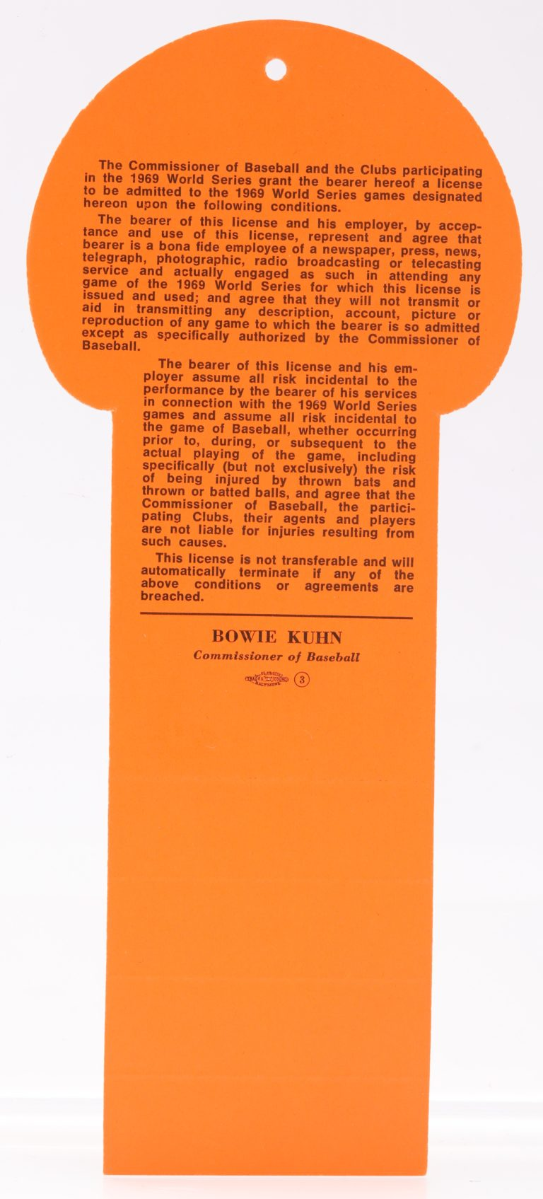 1969 World Series Baltimore Press Pass