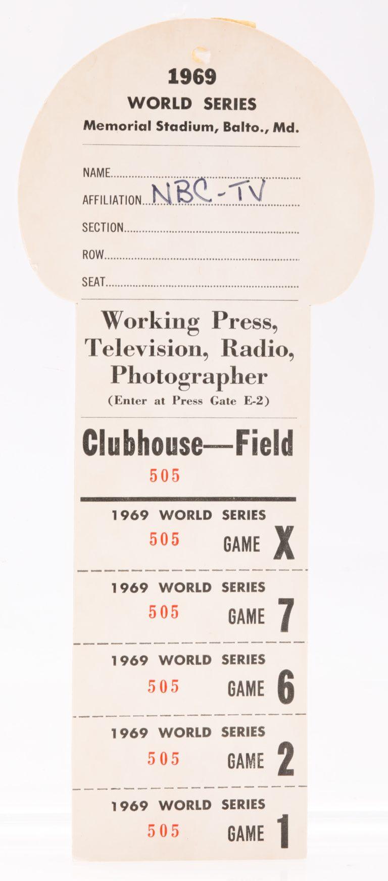 1969 World Series Press Pass - Front