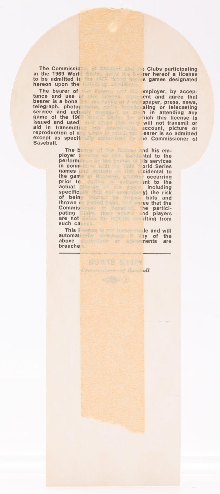 1969 World Series Press Pass - Back