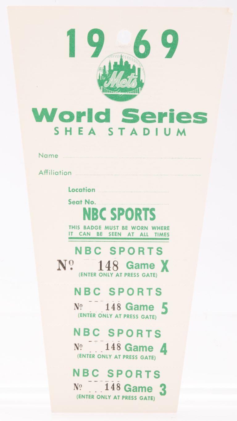 1969 World Series Press Pass at Shea Stadium