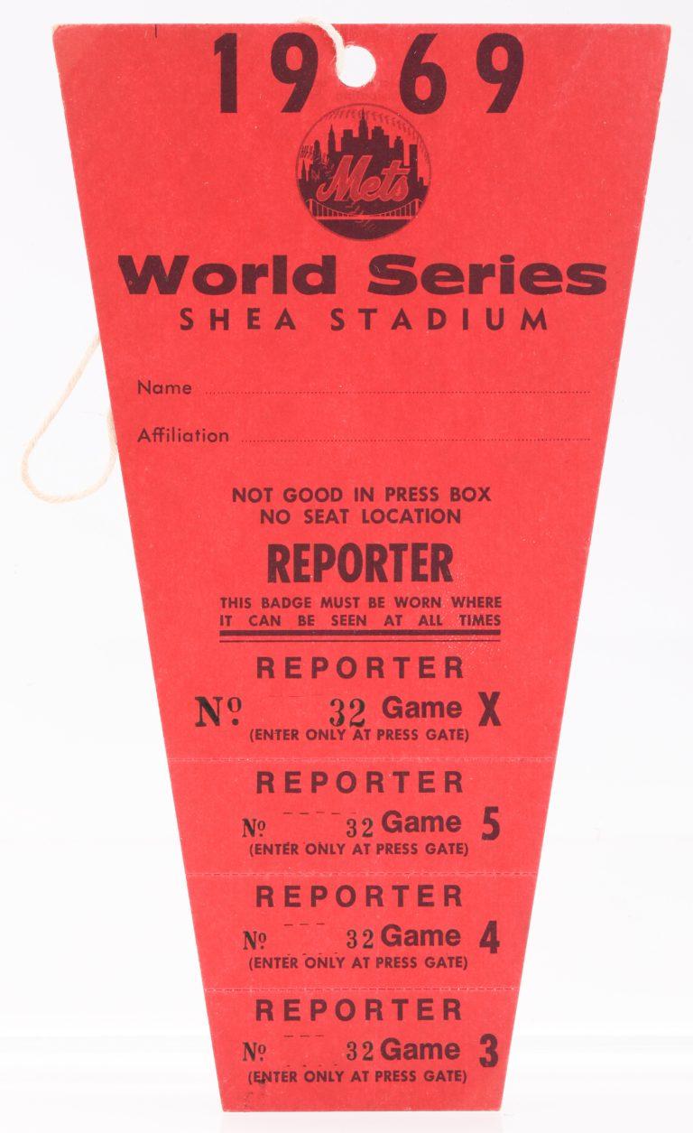 1969 Shea Stadium World Series Press Pass