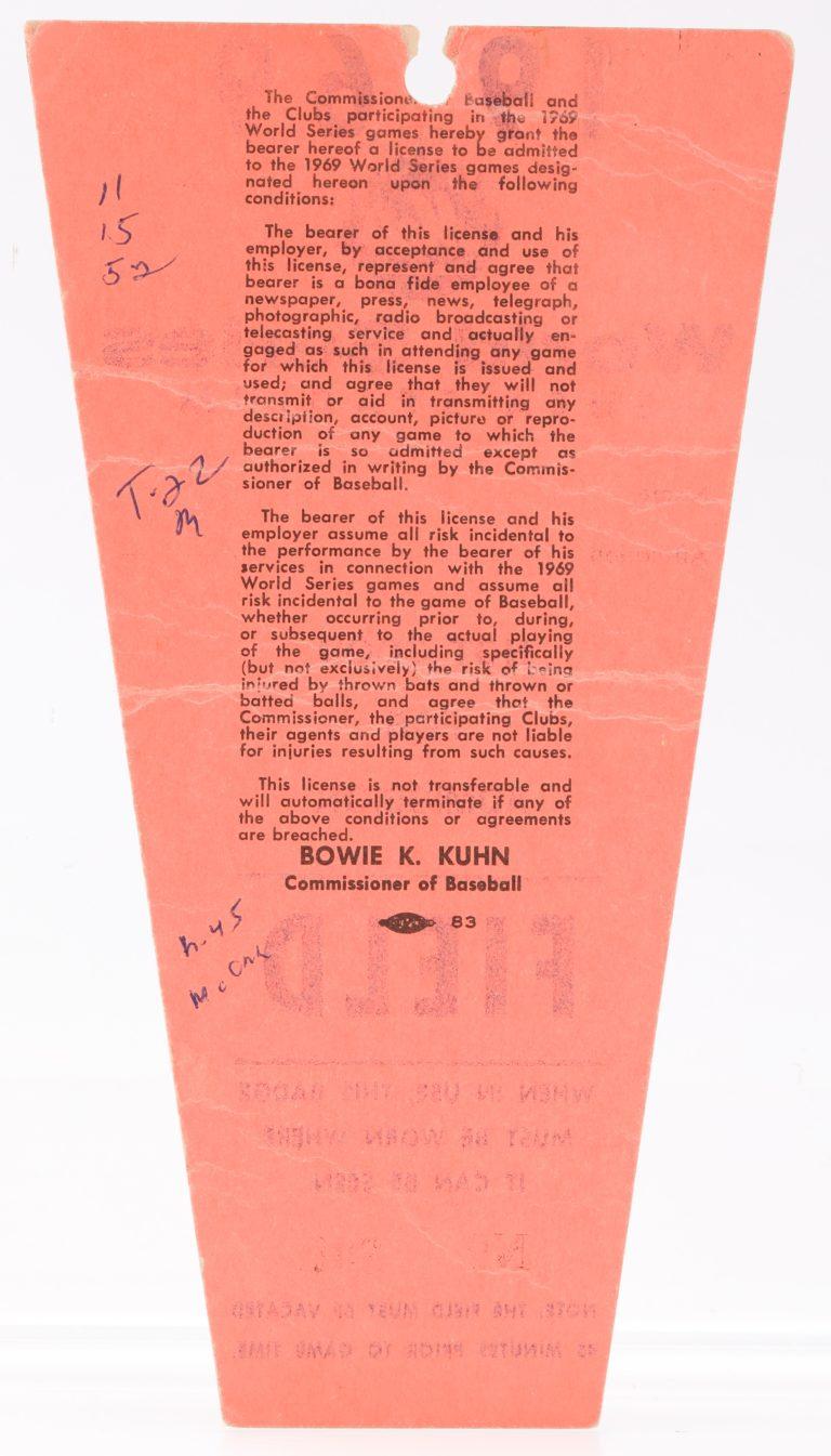 Field Press Pass for 1969 World Series