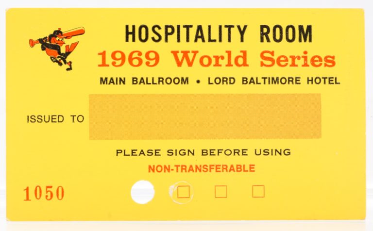 1969 World Series Lord Baltimore Hotel Hospitality Pass