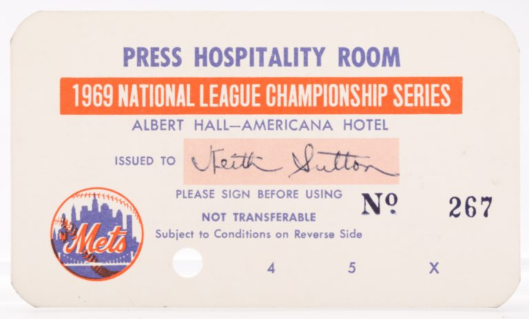 1969 NLCS Press Hospitality Room Pass