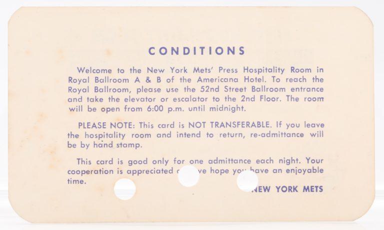 1969 World Series Press Hospitality Room Pass