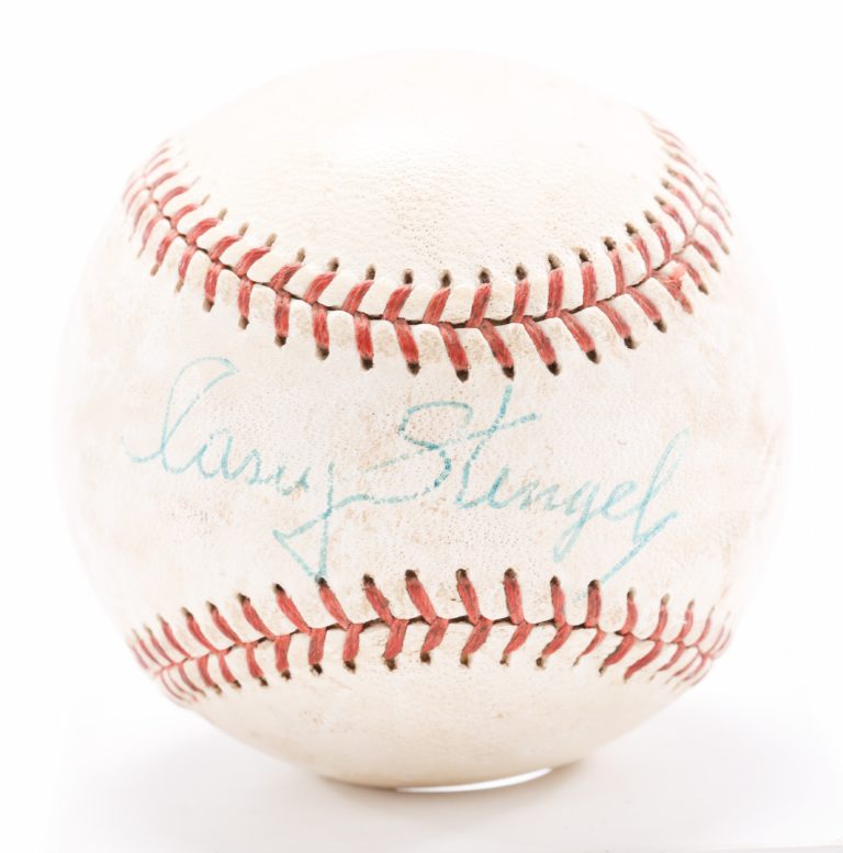 Stengel Autographed Ball from First Shea Game - Autograph Detail