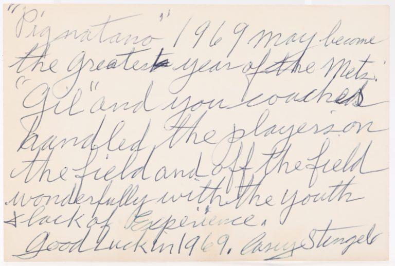 Casey Stengel's Christmas Card to Joe Pignatano - Handwritten Note