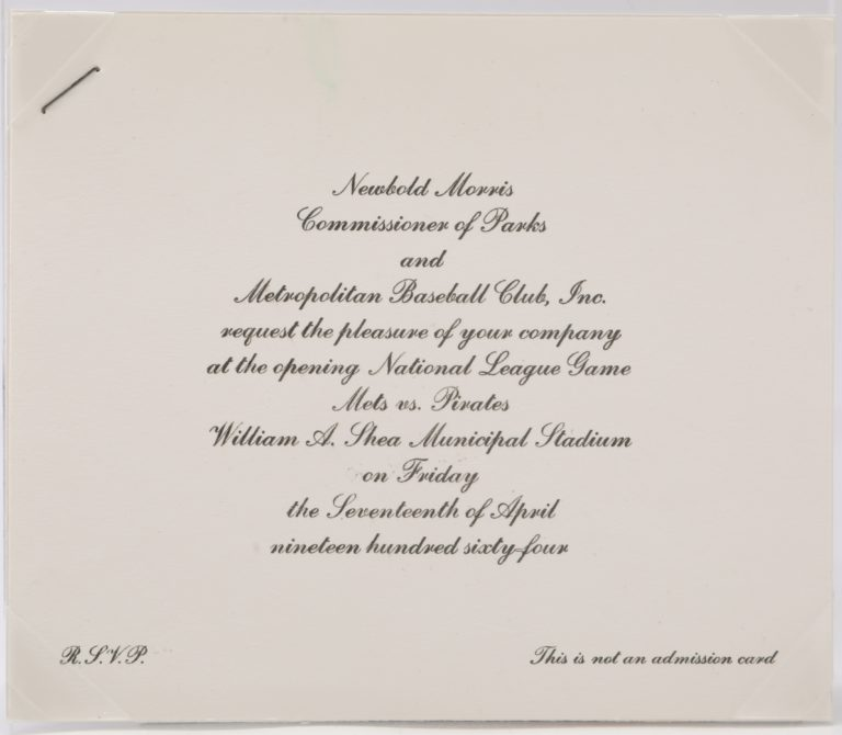 Invitation to Opening Game at New Shea Stadium