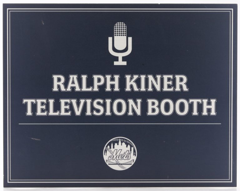 Ralph Kiner Television Booth Sign at Citi Field