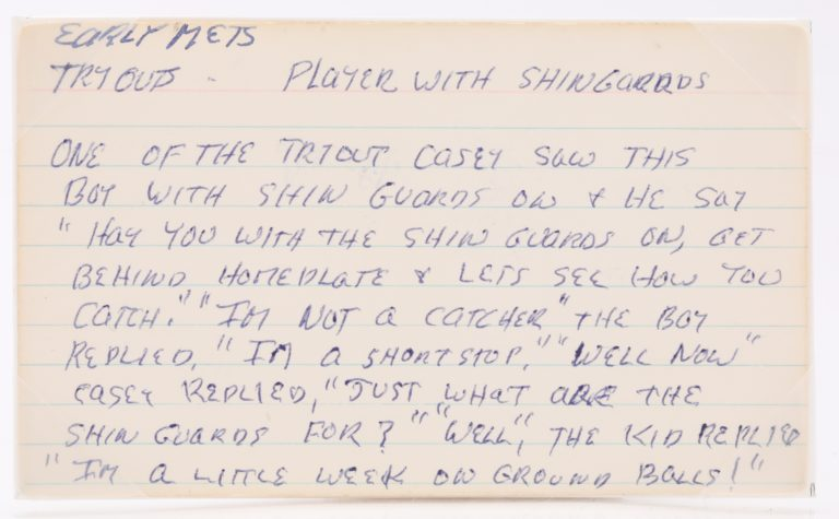 Index Card with Story About Casey Stengel